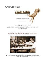 Speisekarte Gamsalm