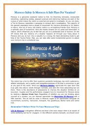 Morocco Safety Is Morocco A Safe Place For Vacation