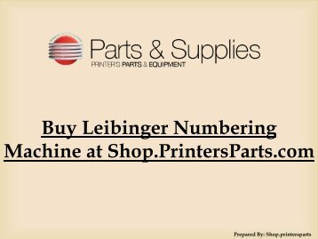 Numbering Machine Leibinger at-Shop.PrintersParts.com