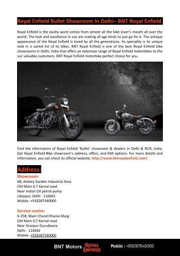 Royal Enfield Bullet Showroom In Delhi– BNT Royal Enfield