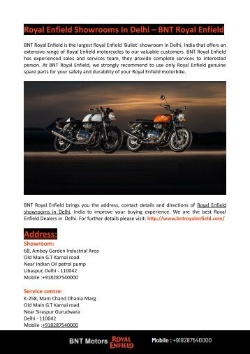 Royal Enfield Showrooms In Delhi- BNT Royal Enfield