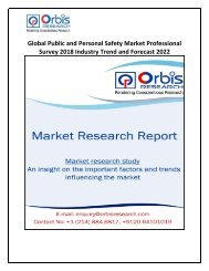 Global Public and Personal Safety Market Outlook, Growth, Trends, Analysis and Forecast to 2018-2022