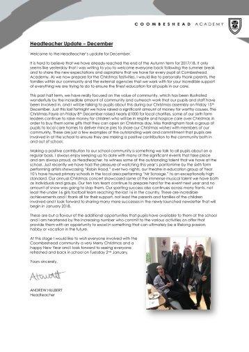 Coombeshead Academy Headteacher Update - Dec