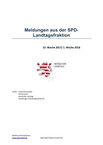 Meldungen aus der SPD-Landtagsfraktion (5)