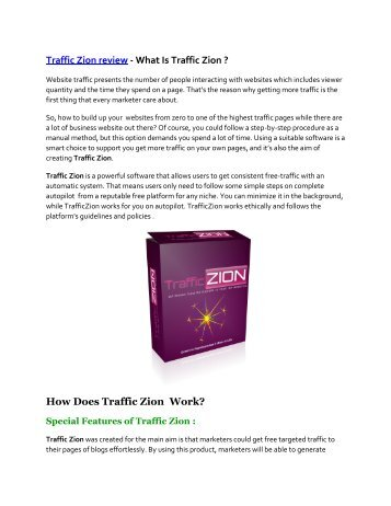 Traffic Zion review and Premium $14,700 Bonus