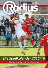 Radius Fussball Spielkalender 2015