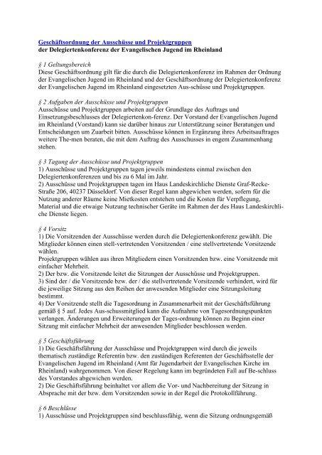 Geschaeftsordnung der Ausschüsse und Projektgruppen