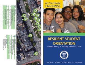 Orientation Resident Student Schedule Spring 2018