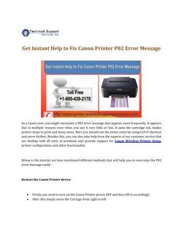Get Instant Help to Fix Canon Printer P02 Error Message