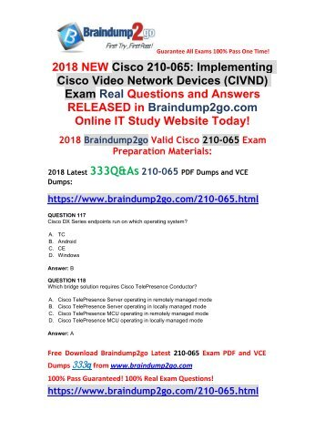 (2018-1-New)Braindump2go 210-065 Dumps VCE Free Share!(Q117-Q127)