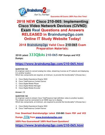 (2018-1-New)Braindump2go 210-065 VCE and 210-065 PDF Dumps Free Share!(Q139-Q149)