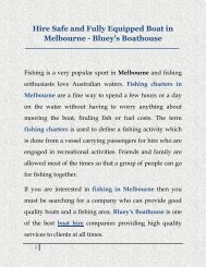 Hire Safe and Fully Equipped Boat in Melbourne - Blueys Boathouse
