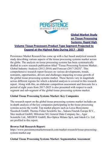 Tissue Processing Systems Market Expected to Garner US$ 440 Mn by 2025
