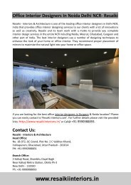 Office Interior Designers In Noida Delhi NCR- Resaiki