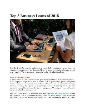 Top 5 Business Loans of 2018