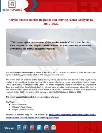 Acrylic Sheets Market Regional and Driving Factor Analysis by 2017-2022