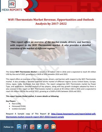 WiFi Thermostats Market Revenue, Opportunities and Outlook Analysis by 2017-2022