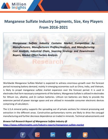 Manganese Sulfate Industry Segments, Size, Key Players From 2016-2021