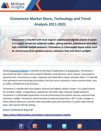Cinnamene Market Share, Technology and Trend Analysis 2011-2021