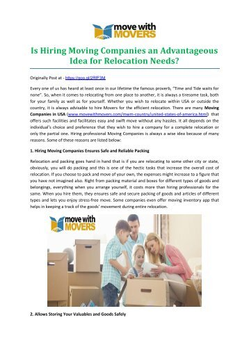 Is Hiring Moving Companies an Advantageous Idea for Relocation Needs?