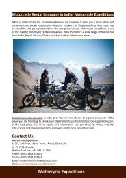 Motorcycle Rental Company In India- Motorcycle Expeditions