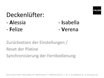 Deckenlüfter Fernbedienung Synchronisierung (Isabella, Felize, Alessia