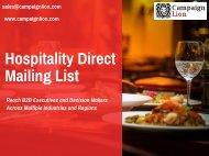 Hospitality Direct Mailing List | Hospitality Mailing Database | Email List