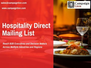 Hospitality Direct Mailing List | Hospitality Mailing Database | Email List