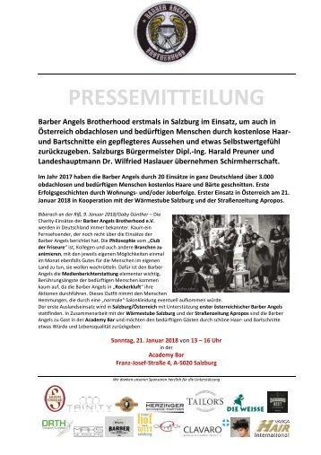 Pressemitteilung Barber Angels erstmals in Salzburg am 21. Januar 2018