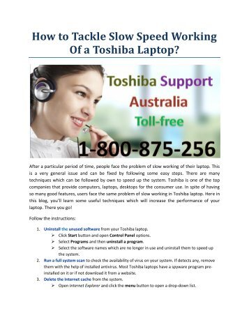 How to Tackle Slow Speed Working Of a Toshiba Laptop?
