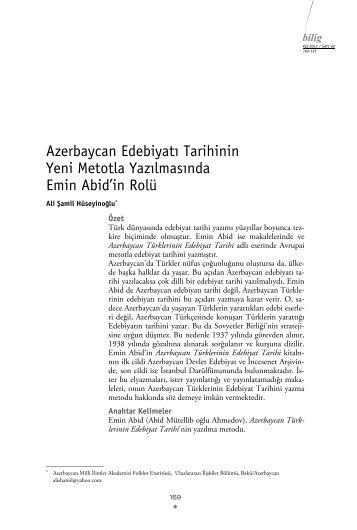 Azerbaycan Edebiyatı Tarihinin Yeni Metotla Yazılmasında Emin ...