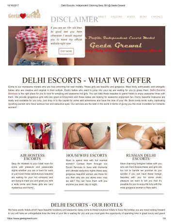 Delhi Escorts, Independent Claiming Sexy Girl @ Geeta Grewal