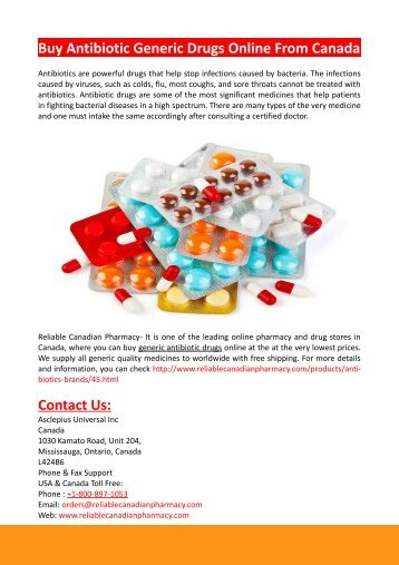 Buy Antibiotic Generic Drugs Online From Canada