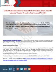 Global Automotive Roof Systems Market Analysis, Share, Growth, Industry Trends, Overview And Forecast To 2021