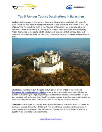 Top 5 Famous Tourist Destinations Places Rajasthan udaipurtaxionline (2)