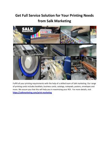 Get Full Service Solution for Your Printing Needs from Salk Marketing