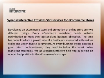 SynapseInteractive Ecommerce SEO Company India