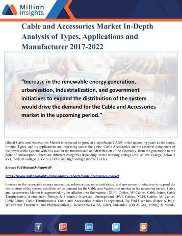 Cable and Accessories Market In-Depth Analysis of Types, Applications and Manufacturer 2017-2022