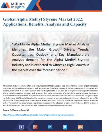 Global Alpha Methyl Styrene Market 2022: Outlook by New Horizons, Key Companies