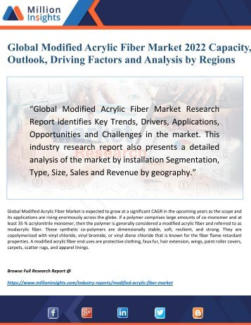 Global Modified Acrylic Fiber Market 2022: Outlook by New Horizons, Key Companies