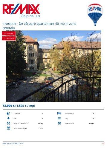 RMX11014 - Investitie - De vanzare apartament 40 mp in zona centrala [RO] ADRIAN SUTEU