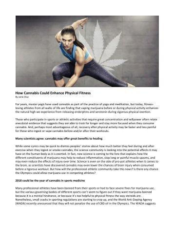 How Cannabis Could Enhance Physical Fitness_Janie Diaz