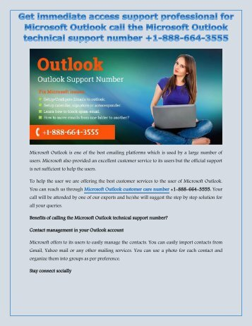 Solve your multiple problems call the Microsoft Outlook Customer support number +1-888-664-3555