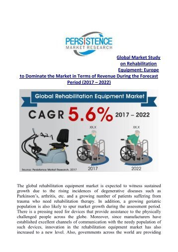 Rehabilitation Equipment Market Expected to Cross US$ 13,400 Mn by 2022