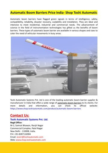 Automatic Boom Barriers Price India- Shop Toshi Automatic