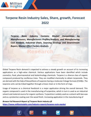 Terpene Resin Industry Sales, Share, growth, Forecast 2022