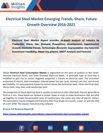 Electrical Steel Market Emerging Trends, Share, Future Growth Overview 2016-2021