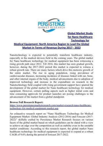 Nano Healthcare Technology for Medical Equipment Market Expected to Touch US$ 9.2 Bn by 2022