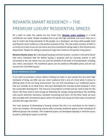 Revanta smart residency – the premium luxury residential spaces