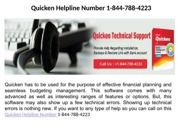 Quicken Technical Support Number 1-844-788-4223